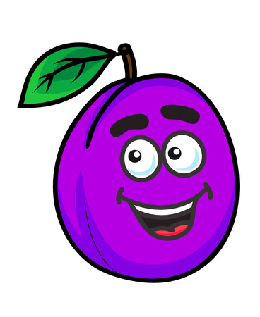 prune: Fresh purple cartoon plum fruit with a happy face and green leaf isolated on white
