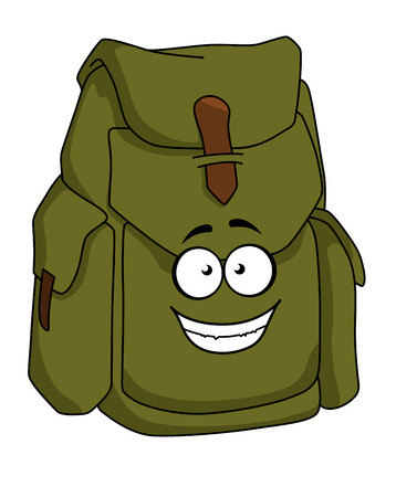 sturdy: Tourist sturdy green canvas rucksack or backpack with a happy smiling face, cartoon illustration