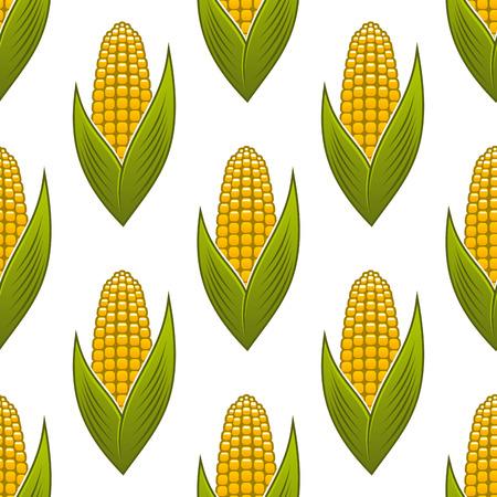 ядра: Бесшовные спелой золотой кукурузы в початках с зелеными листьями для фона дизайн