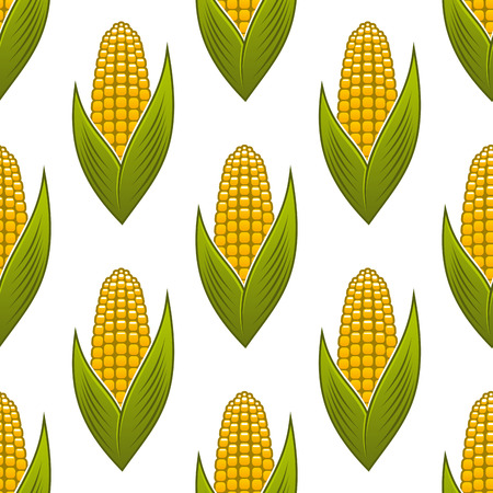 Seamless pattern of ripe golden corn on the cob with green leaves for background design