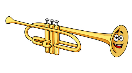 Cute cartoon brass trumpet musical instrument with a happy smiling face isolated on white