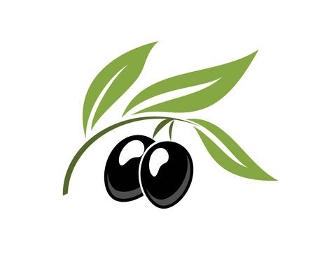 Two ripe black cartoon olives on a leafy green twig for vegetarian food concept design