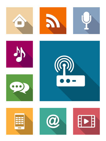 wireless communication: Set of flat media and communication icons with an email symbol, wifi, wireless, microphone, broadcast, music notes, speech bubble, tablet computer, movie, video, and home elements