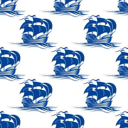 Old vintage seamless pattern goélette voilier dans une silhouette bleue avec un motif de répétition dans le format carré pour un thème nautique