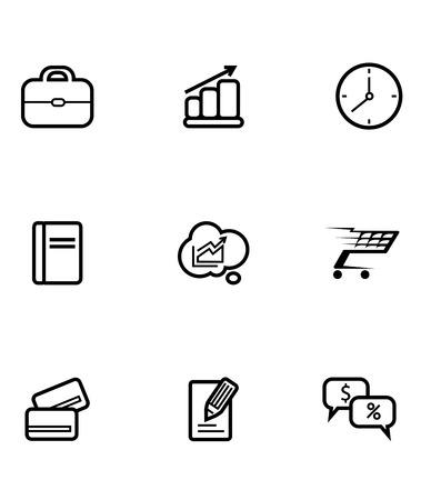 쇼핑 카트, 신용 카드, 시계, 가방, 차트, 그래프, 통계, 분석, 돈, 금융, 정보 기호를 묘사하는 선 그리기의 비즈니스 및 쇼핑 아이콘의 집합
