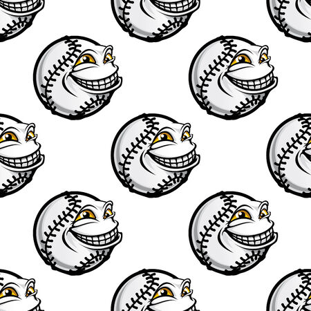 Funny cartoon baseball ball with a goofy face and toothy grin and smiling eyes in a seamless background sporting pattern Vector