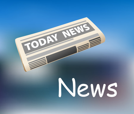 news current events: Folded todays news newspaper icon on a graduated blue background with the text below for media design