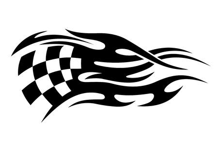 cuadros blanco y negro: Bandera a cuadros blanco y negro de deportes de motor con una larga cola que representa la velocidad de diseño del tatuaje en estilo tribal
