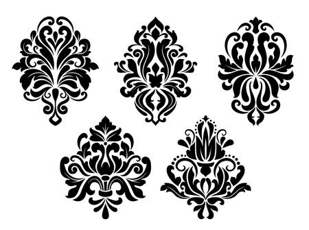 Decorative floral elements set in retro damask style isolated on white background Vector