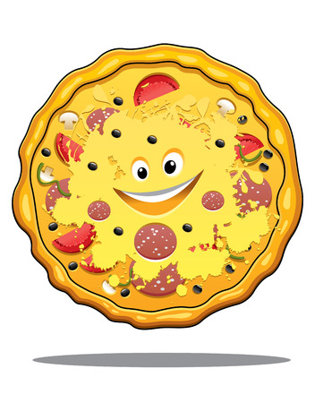 Cartoon pepperoni pizza with a fluted crust, cheese, salami and tomato and happy smiling face isolated on white Vector