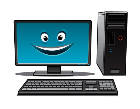 workstation: Happy cartoon desktop computer with a keyboard, tower and large monitor with a smiling face Illustration