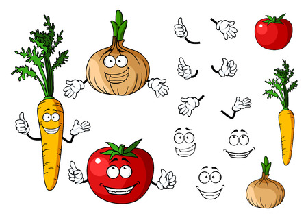 Carrot, tomato and onion vegetables isolated on white background in cartoon style for food design
