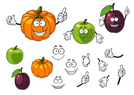 calabaza caricatura: Calabaza de la historieta, ciruela y manzana con caras felices aislados sobre fondo blanco