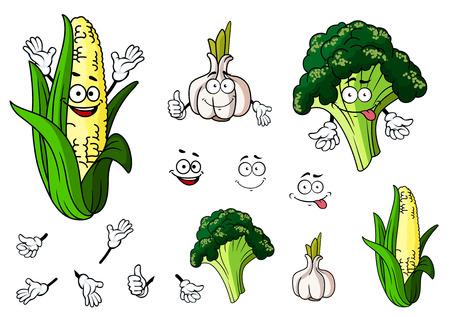 elote caricatura: Brócoli, ajo y maíz verduras en estilo de dibujos animados para el diseño de alimentos bio