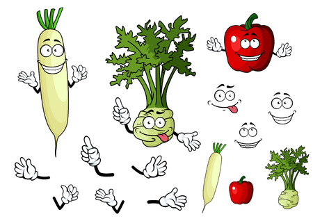Turnip, radish and pepper vegetables in cartoon style for food design Vector