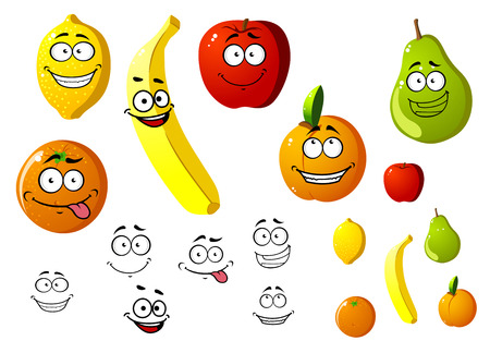 diet cartoon: Lemon, apple, orange, banana, pear and peach fruits in cartoon style