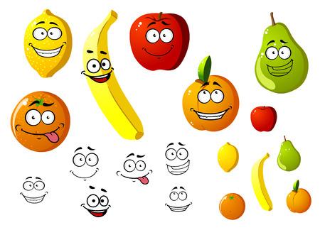 manzana caricatura: Lim�n, manzana, naranja, pl�tano, pera y melocot�n frutas en estilo de dibujos animados Vectores