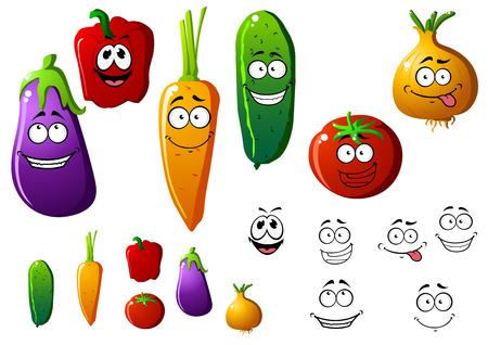 pepino caricatura: Pepino, pimiento, berenjena, cebolla, zanahoria y tomate verduras con emociones divertidas. Ilustraci�n de dibujos animados
