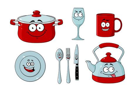 vaisselle de bande dessinée et jeu de cuisine pour la conception de cuisine isolé sur blanc
