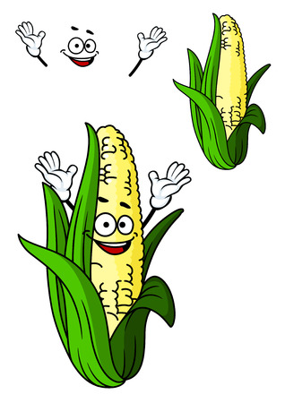 sweetcorn: Happy fresh corn on the cob with a big smile and green leaves in cartoon style isolated on white