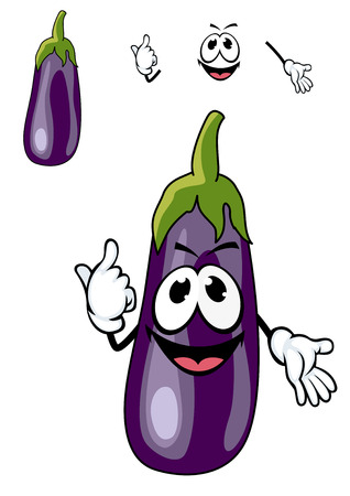 greengrocery: Smiling happy purple eggplant with a green stalk for use as a cooking ingredient in vegetarian cuisine, cartoon illustration