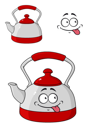 Cartoon kettle with a happy smiling face and red lid and handle isolated on white