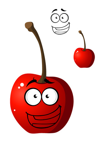 Ripe red happy little cartoon cherry with a happy smile and googly eyes isolated on white Vector