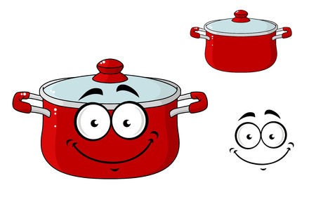 casserole: Little red cartoon cooking saucepan or pot with a lid and a happy smile, isolated on white Illustration
