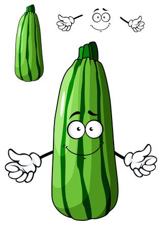 calabacin: Vehículo fresco del calabacín verde de la historieta con una sonrisa grande y feliz aislado en blanco para el diseño conceptual de alimentos saludables