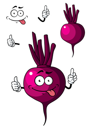 beet root: Cute little purple cartoon beetroot vegetable with a happy face for healthy food concept isolated on white Illustration