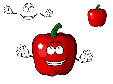 chiles picantes: Feliz de dibujos animados rojo pimiento dulce vegetal con una radiante sonrisa con dientes aislados en blanco Vectores