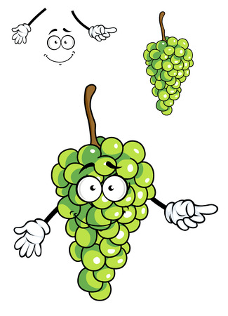 toothy smile: Laughing happy bunch of green cartoon grapes with a big beaming toothy smile isolated on white Illustration
