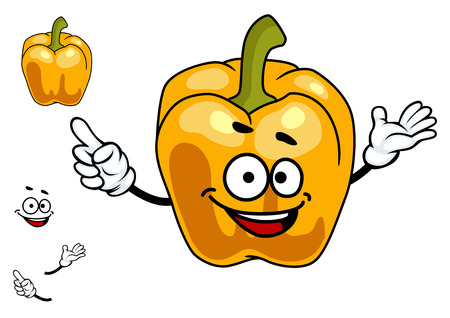 Smiling cartoon orange sweet bell pepper vegetable with a green stalk isolated on white Vector