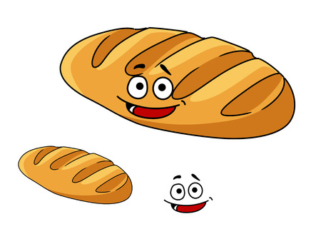 Happy freshly baked golden cartoon crispy crusty French baguette with a wide smile isolated on white Vector