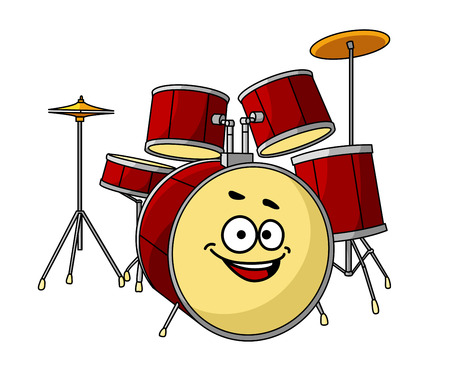 Drum set for a musical performance with a band with the drum in the foreground having a big happy laughing smile Illustration
