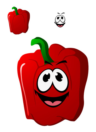 Colorful happy red sweet bell pepper vegetable with a toothy smile and green stalk, cartoon illustration isolated on white