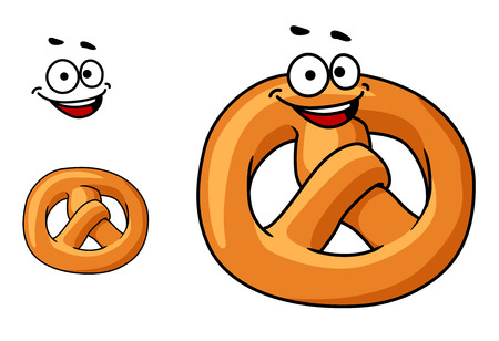nibble: Funny crispy golden pretzel with a happy smile and the traditional knotted shape, cartoon illustration