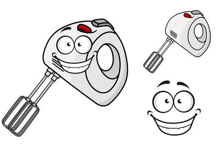 batidora: Sonriendo feliz de mano batidora eléctrica portátil con un accesorio batidor, ilustración de dibujos animados Vectores