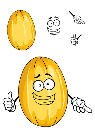 Happy ripe yellow tropical sweet melon fruit with a wide toothy grin, cartoon illustration