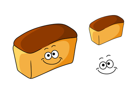 Fresh happy loaf of golden white bread with a smiling face, cartoon illustration Vector