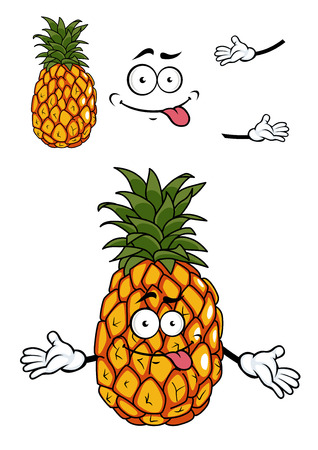 toothy: Happy golden tropical pineapple with a wide toothy smile and green leaves on top, cartoon illustration