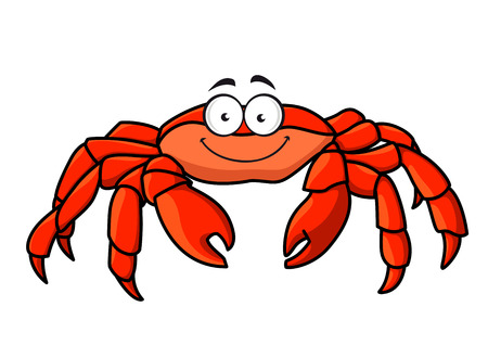 pincer: Cartoon red marine crab with big pincer claws and a happy smile, isolated on white Illustration