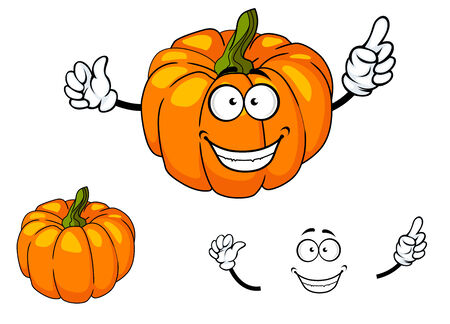 Cheeky happy colorful orange cartoon pumpkin with a toothy smile and green stalk isolated on white
