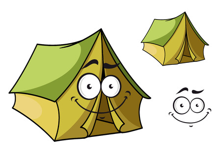 Fun cartoon tent with a happy smiling face and toothy grin isolated on white for tourism industry design Vector