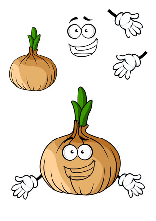 toothy smile: Fun cartoon brown onion vegetable with a big happy toothy smile isolated on white