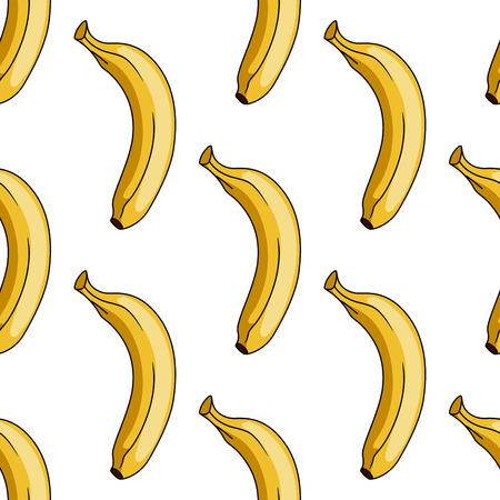Seamless background pattern of a ripe yellow tropical cartoon banana in square format for textile or wallpaper Vector