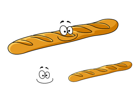 Freshly baked crusty french baguette with a happy smile, cartoon illustration isolated on white Vector