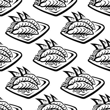 日本料理: 魚介類の要素を持つ日本食のシームレスなパターン