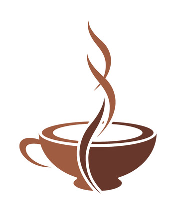 Brown and white vector doodle sketch of a stylish cup of steaming cappuccino coffee