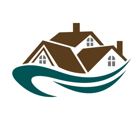 cottage house: Real estate symbol - house roofs with waves for design